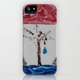 Grabado agua roca y arbol iPhone Case