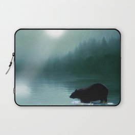 Stepping Into The Moonlight - Black Bear and Moonlit Lake Laptop Sleeve