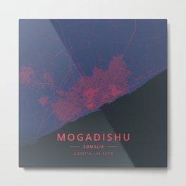 Mogadishu, Somalia - Neon Metal Print