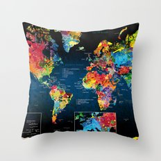 World Map Black - 2 Throw Pillow