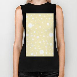 Mixed Polka Dots - White on Blond Yellow Biker Tank
