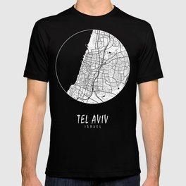 Tel Aviv City Map of Israel - Black Circle T-shirt