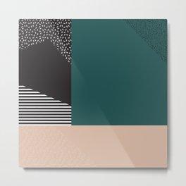 Mixture Abstract - Black Green Tan Metal Print