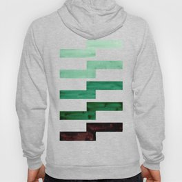 Teal Aquamarine Green Watercolor Gouache Geometric Pattern Zig Zag Lightning Bolt Shaped Mid Century Hoody
