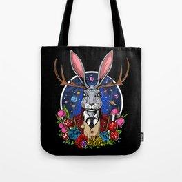 Psychedelic Jackalope Shrooms Rabbit Tote Bag