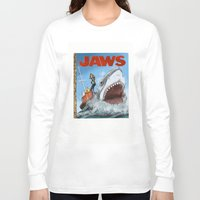 jaws Long Sleeve T-shirts featuring Jaws by Tom McWeeney