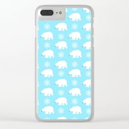 Polar bears with snowflakes Clear iPhone Case