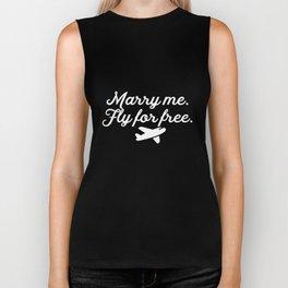 Marry Me, Fly For Free Airplane Flight Attendant Biker Tank