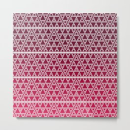 Triangles in triangles on red Metal Print