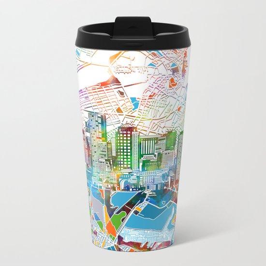 boston city skyline map Metal Travel Mug