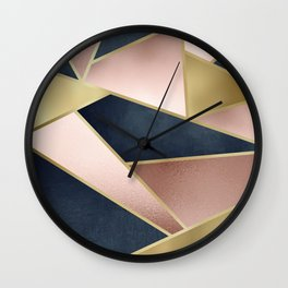 Geometric Art, Rose Gold, Pink and Navy Blue Modern  Wall Clock