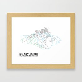 Big Sky, MT - Northern Exposure - Minimalist Trail Map Framed Art Print