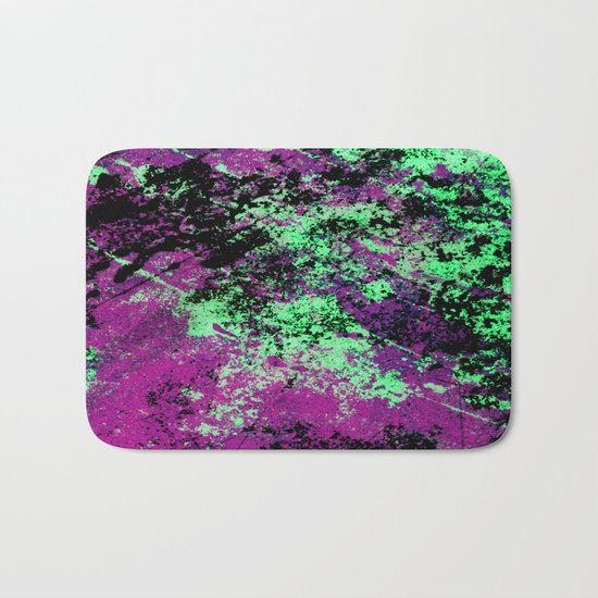 Colour Interaction II - Abstract purple, green and black textured, mixed media art Bath Mat