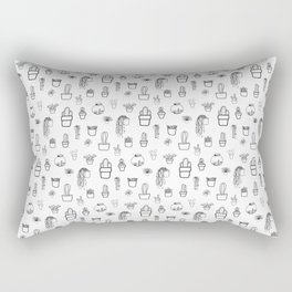 Cacti and Succulents Line Drawing Pattern Rectangular Pillow