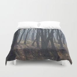 Fog Autumn forest Duvet Cover