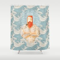 orange Shower Curtains featuring Sailor by Seaside Spirit