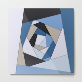 Abstract Blues Geometric Layers Metal Print