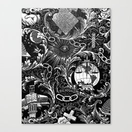 Black and White Woven IOOF Symbolism Tapestry Canvas Print