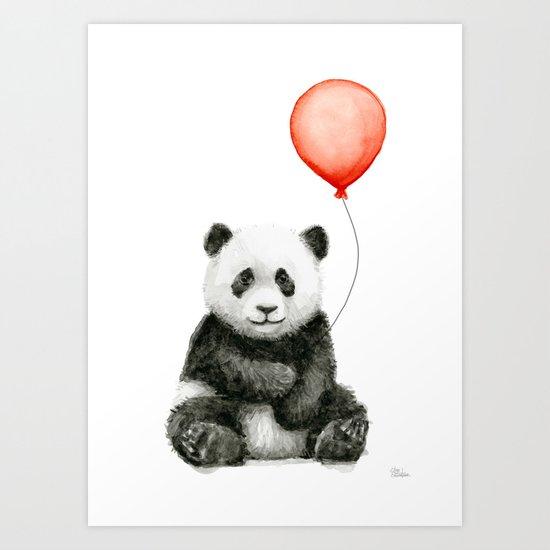Panda and Red Balloon Baby Animals Watercolor Art Print