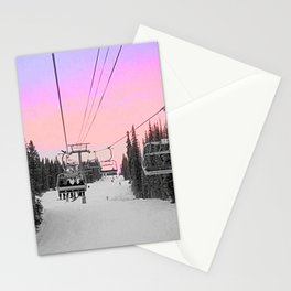 Ski Lift Sunset Shot on iPhone 4 Stationery Cards