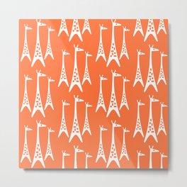 Mid Century Modern Giraffe Pattern 221 Orange Metal Print