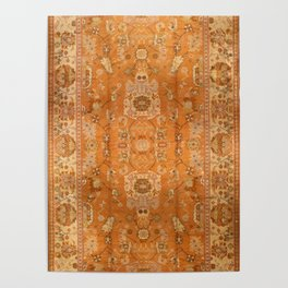 Antique Turkish Oushak Rug Print Poster