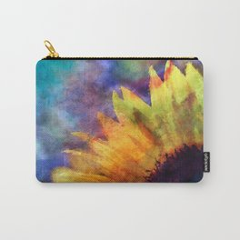 Sunflower Flower Floral on colorful watercolor texture Carry-All Pouch