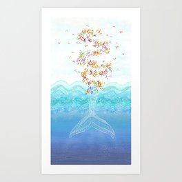 Flying whale Art Print