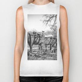 Wild Horses  - Black And White Biker Tank