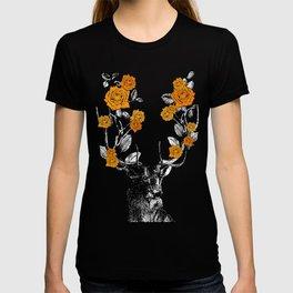 The Stag and Roses | Deer and Flowers | Orange | Vintage Stag | Vintage Deer | Antlers | Woodland | T-shirt