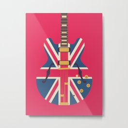 Union Jack Flag Guitar - Crimson Metal Print