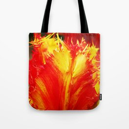 Curly Tulip With Vivid Red And Yellow Tote Bag