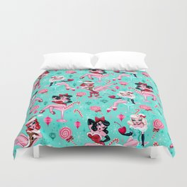 Christmas Candy Martini Pinup Girls Duvet Cover