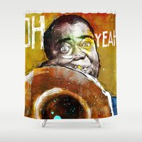 louis armstrong Shower Curtains featuring Louis Armstrong by Ed Pires