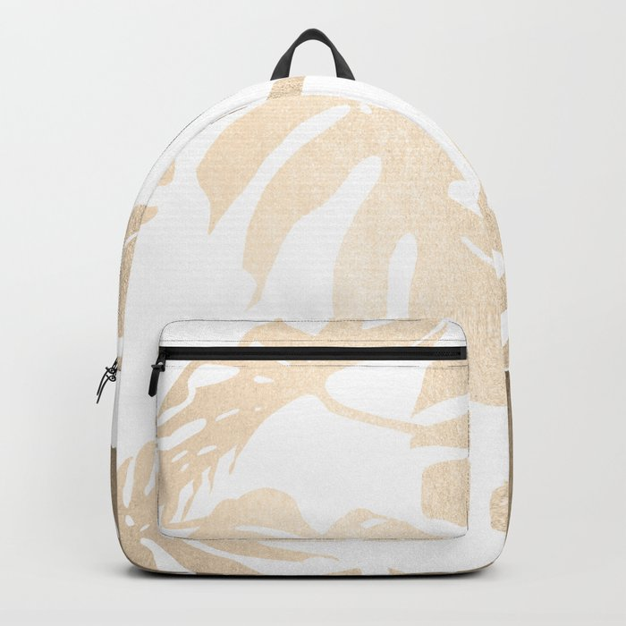 Simply Tropical Palm Leaves in White Gold Sands Backpack