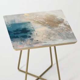 Embrace: a minimal, abstract mixed-media piece in blues and gold with a hint of pink Side Table