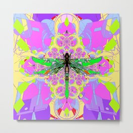 Emerald Green Dragonfly Pink Abstract Metal Print