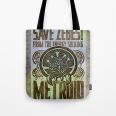 Save Zebes! Metroid Geek Art Vintage Poster Tote Bag