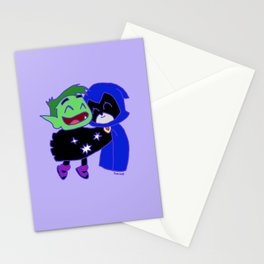 teen titans - raven and beast bot Stationery Cards