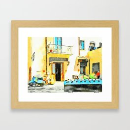 Foosball and scooter in front of the bar Framed Art Print