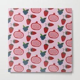 Red Fruits Pattern Design Metal Print