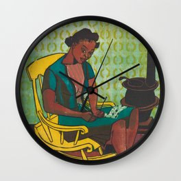 The Yellow Rocker Woodblock Art Wall Clock