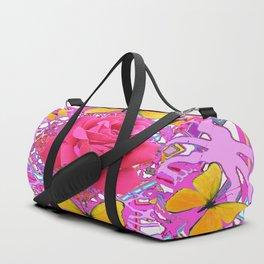 PINK ROSES YELLOW BUTTERFLIES  MODERN PINK GARDEN Duffle Bag