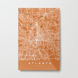 ATLANTA Map Georgia | Orange | More Colors, Review My Collections Metal Print