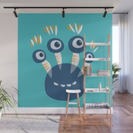 Cute Blue Four Eyed Monster Wall Mural
