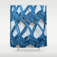 knitting Shower Curtains featuring Blue Knitting by Susan Messier Designs