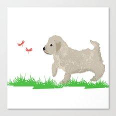 Cockapoo dog art cream Canvas Print