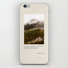 mountains vanish into fog iPhone Skin