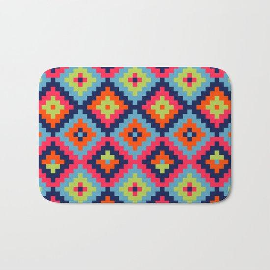 Aztec pattern - blue, green, orange, pink Bath Mat