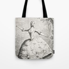 The Dancers, 18th century French ballet woman, black white drawing Tote Bag